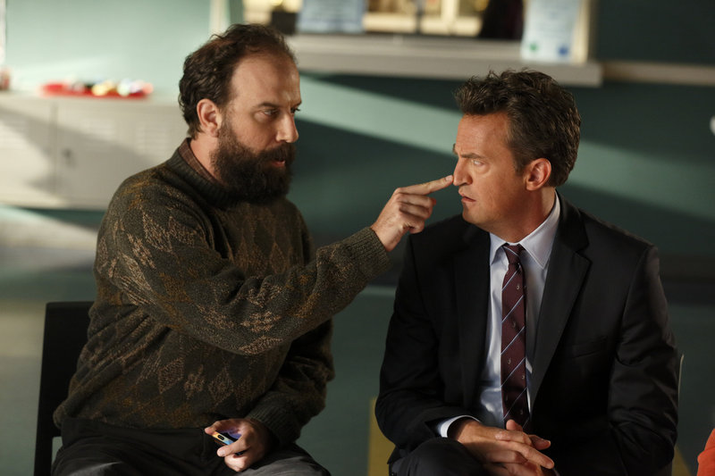 "Brett Gelman, left, and Matthew Perry in NBC's ""Go On."""