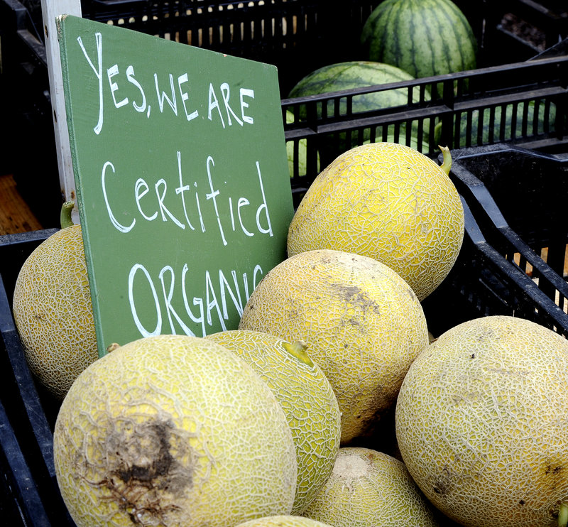 Organic foods like these melons at a Portland farmers market are chosen by many who want to avoid toxins.