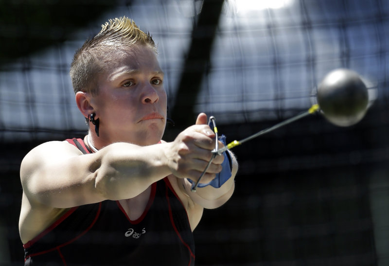 Keelin Godsey competes at the women's hammer throw at the Olympic track and field trials in June. Godsey is a transgender athlete who just fell short of making the U.S. team.