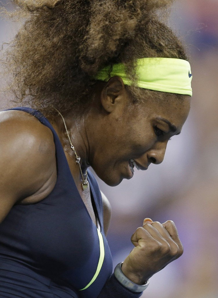 Serena Williams clenches her fist during a quarterfinal win over Ana Ivanovic at the U.S. Open on Wednesday in New York. Williams won 6-1, 6-3.