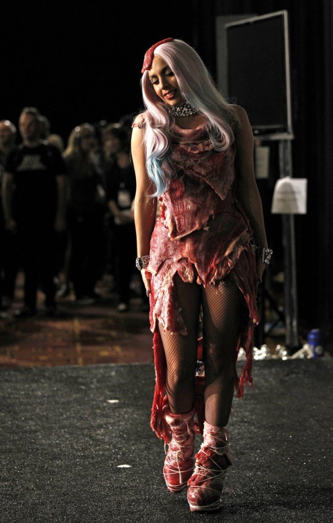 The dress made of meat that Lady Gaga wore at a 2010 awards show has been preserved and is part of a new exhibit.