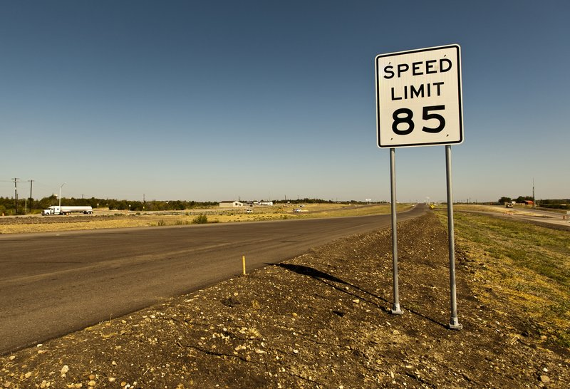 An 85 mph speed limit sign is placed on the 41-mile-long toll road in Austin, Texas, on Thursday.