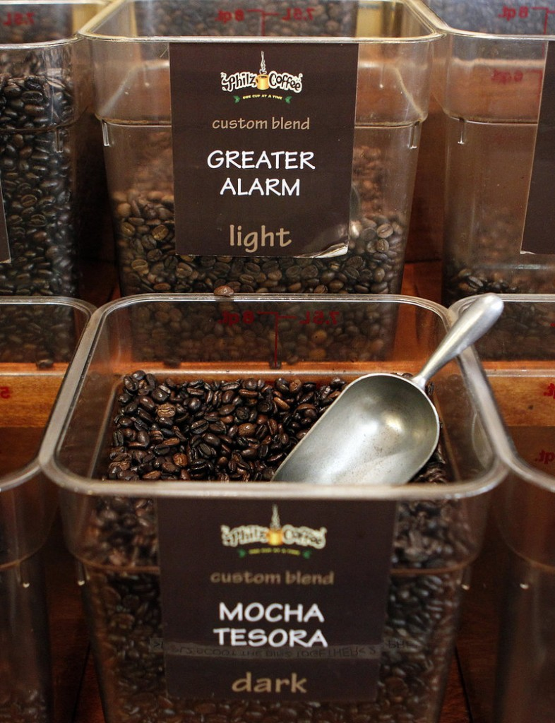 Greater Alarm and Mocha Tesora coffee beans.