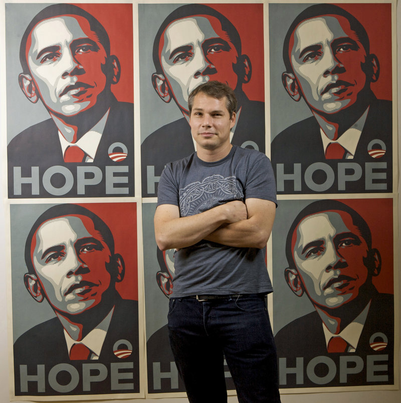 Los Angeles street artist Shepard Fairey, seen in 2009 with his Barack Obama Hope artwork, was sentenced for destroying and fabricating documents in a civil lawsuit.