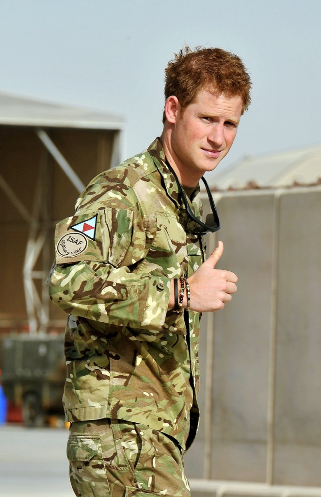 Britain's Prince Harry arrived at Camp Bastion in Afghanistan on Friday.