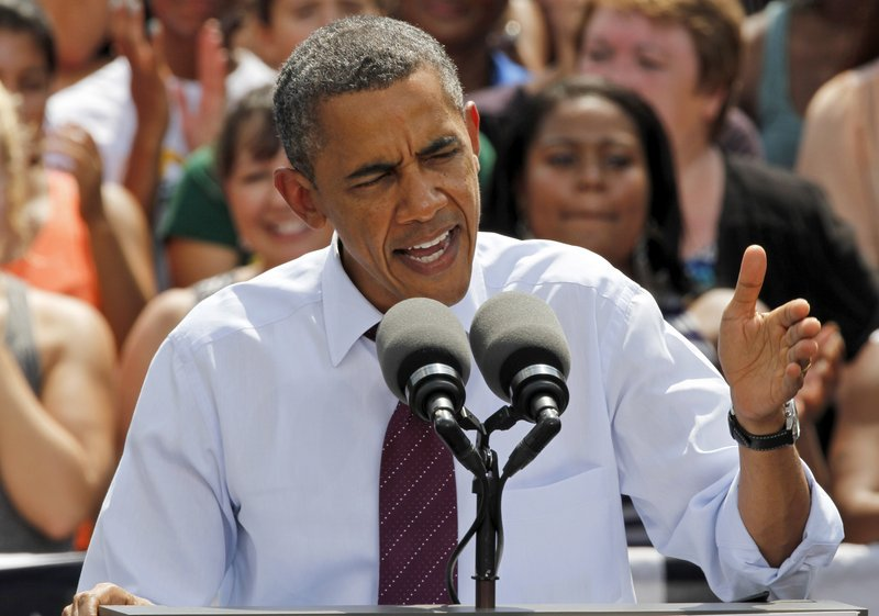 President Obama speaks last week in Norfolk, Va. In Florida on Sunday, he promoted a study showing that future retirees under Mitt Romney's plan would pay tens of thousands of dollars more for health care over their retirement period.