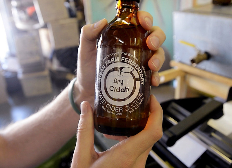 A bottle of Urban Farm's Dry Cidah.