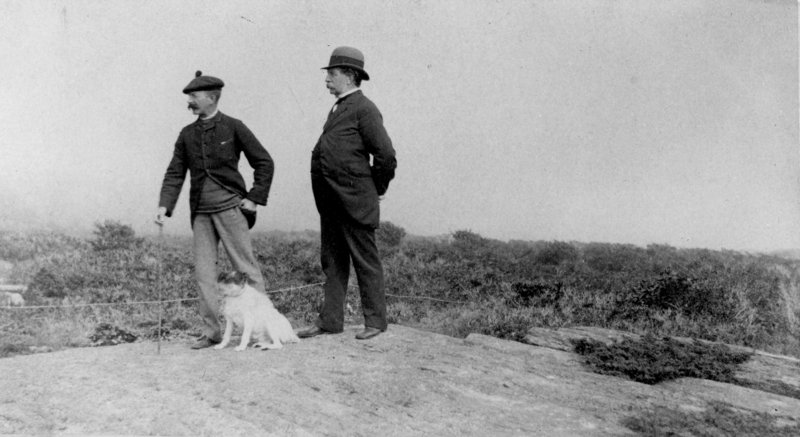 """Winslow Homer, his dog Sam, and his father Charles Savage Homer, Sr. at Prout's Neck, Maine,"" taken between 1890 and 1895, photographer unknown."