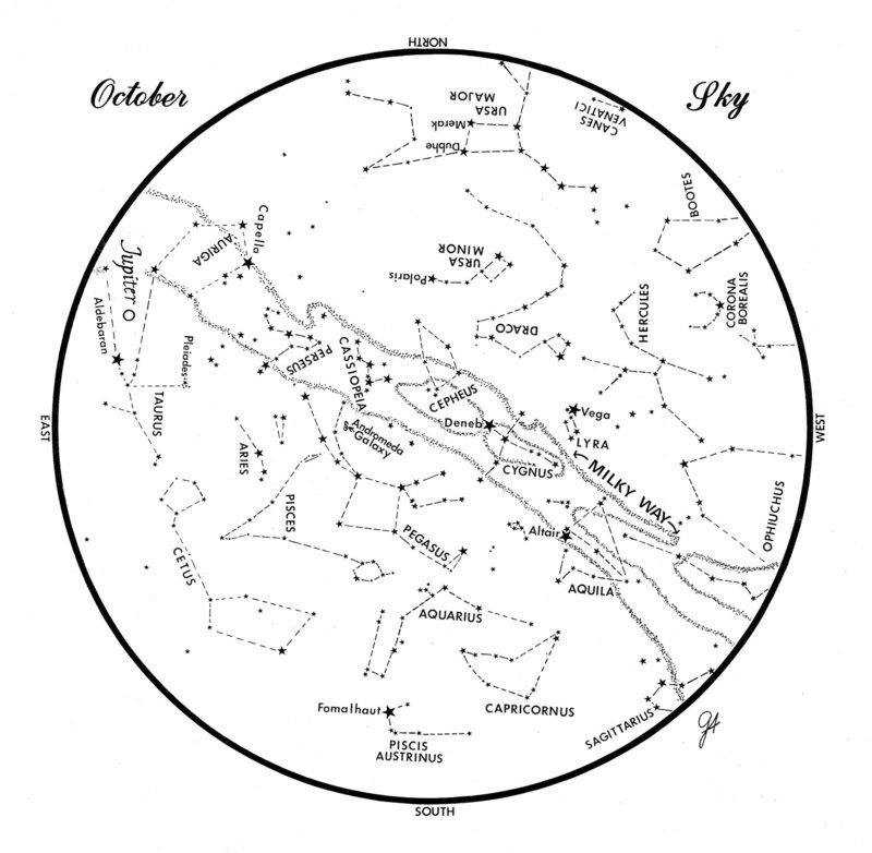 SKY GUIDE: This chart represents the sky as it appears over Maine during October. The stars are shown as they appear at 10:30 p.m. early in the month, at 9:30 p.m. at midmonth and at 8:30 p.m. at month's end. Jupiter is shown in its midmonth position.