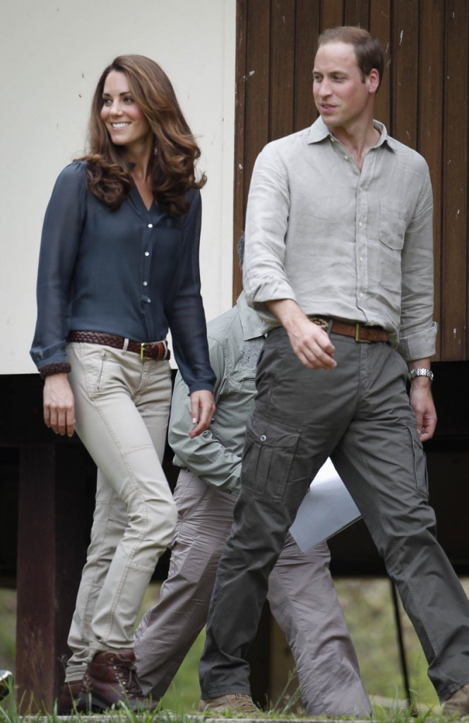 Prince William and Kate, the Duchess of Cambridge, arrive at a Malaysian research center Saturday.