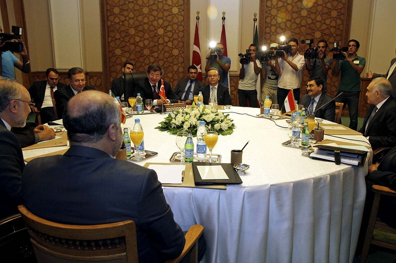 Foreign ministers from three regional nations gather for the first time to talk about Syria's civil war, in an initiative launched by Egypt's new President Mohammed Morsi in Cairo on Monday. Represented were Turkey, Iran and Egypt.