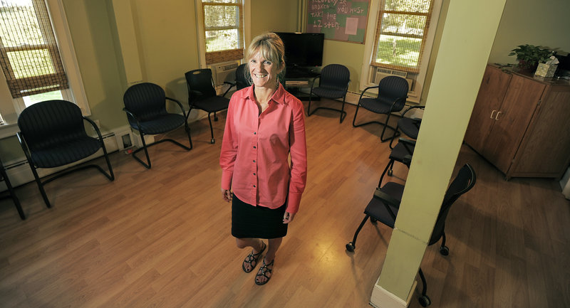 Randi Sheehan, the clinical supervisor of Crossroads, stands in the studio at Crossroads' Windham facility where she teaches yoga and other group-therapy exercises to pregnant and post-partum women undergoing substance-abuse treatment.