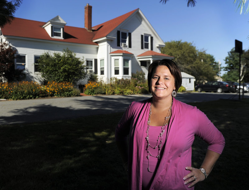 Shannon Trainor, the clinical director for Crossroads, poses for a portrait in front of the company's Windham facility Monday, Sept. 17, 2012. Crossroads just received a $1.5 million grant that will allow children to stay with their mothers who are receiving treatment.