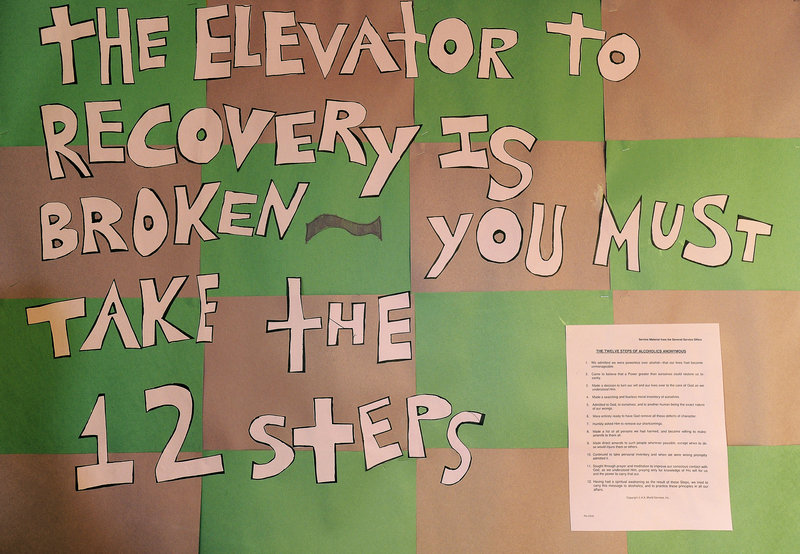 A sign in a classroom at Crossroads' Widham facility gives encouragement to pregnant and post-partum women going through substance-abuse treatment.