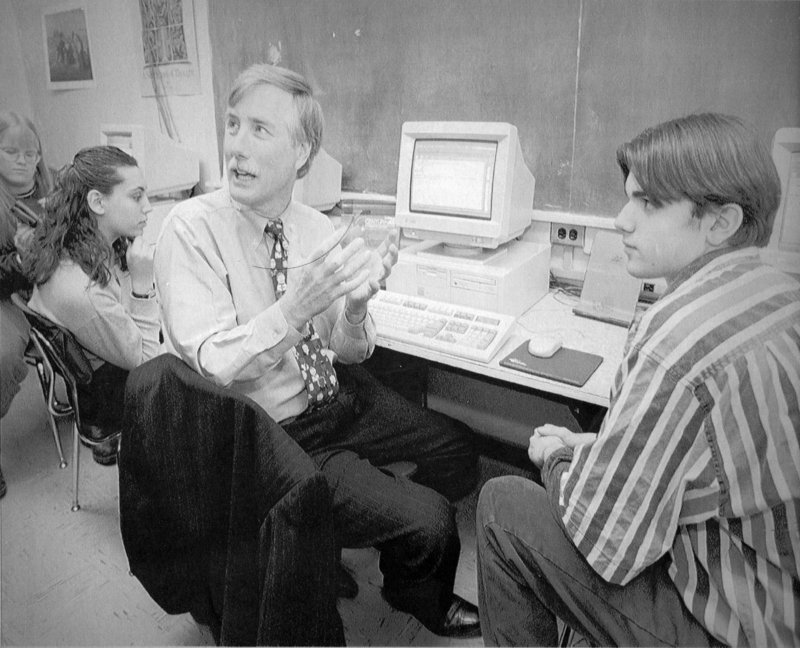 JAN. 13, 1997: Gov. Angus King visits Mount View High School in Thorndike to demonstrate a network to electronically connect all Maine schools and libraries to each other and the Internet. King embraced technology in education, and while in office, he initiated the Maine Learning Technology Initiative, an effort to provide laptops for every public middle-school student in the state. The program was the first of its kind in the nation.