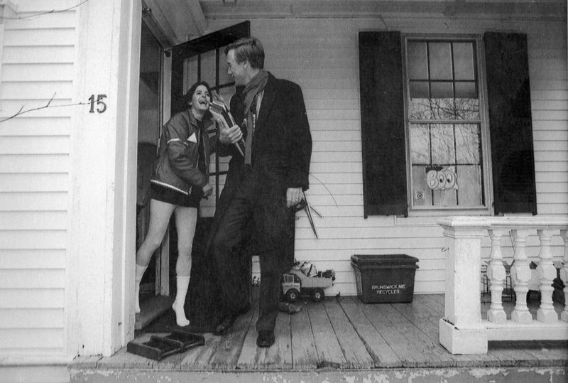 "JAN. 18, 1995: Newly elected Gov. Angus King bids goodbye to his wife, Mary Herman, as he departs his Brunswick home bound for Augusta. Colby College government professor Sandy Maisel, a Democrat, says King stepped into the role at the right time. ""There was a great deal of dissatisfaction with government and partisanship, and Angus then and now had a nonconfrontational nature that was appealing and what the state was looking for,"" Maisel says."