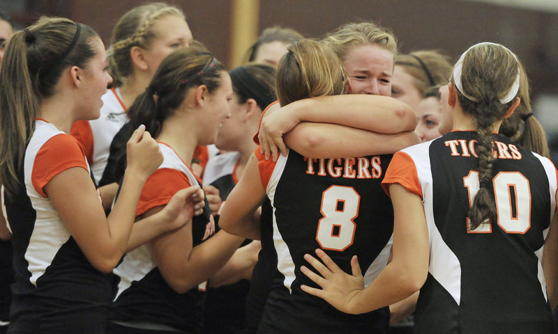 Biddeford continues to prove it's the team to beat in high school volleyball, celebrating Wednesday night after defeating Greely in straight games, beating the Rangers for the second time. The Tigers are 7-0; Greely is 4-2.