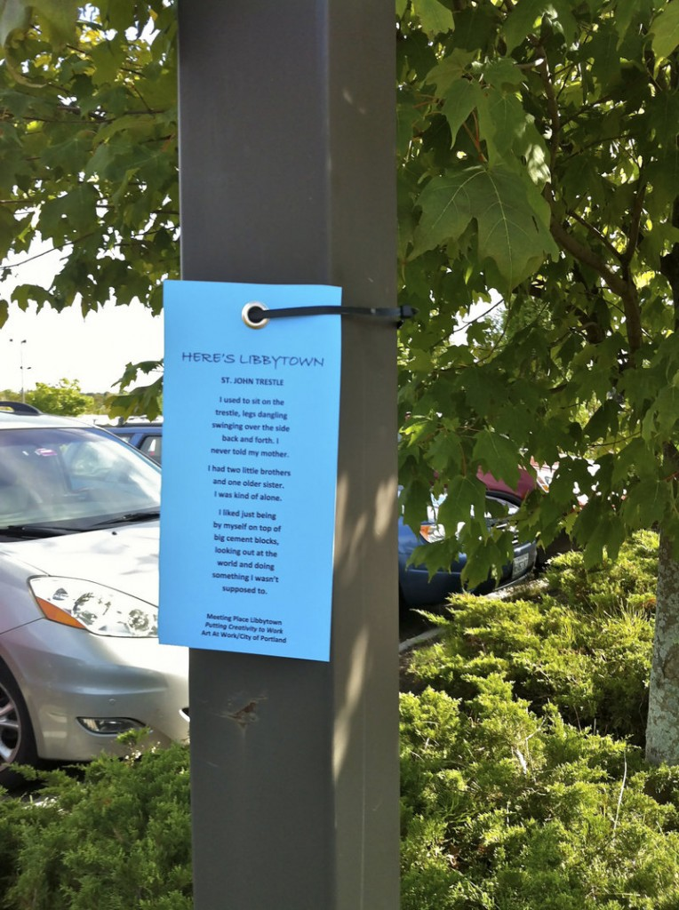 Poetry banners and poetry cards are displayed across Libbytown as part of The Meeting Place program. Residents worked with poet Betsy Sholl to create poetic expressions about their neighborhood.