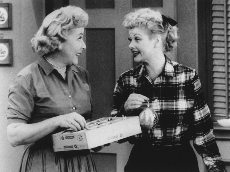 "Lucy, played by Lucille Ball, right, and Ethel, played by Vivian Vance, are shown in a scene from television's ""I Love Lucy."""