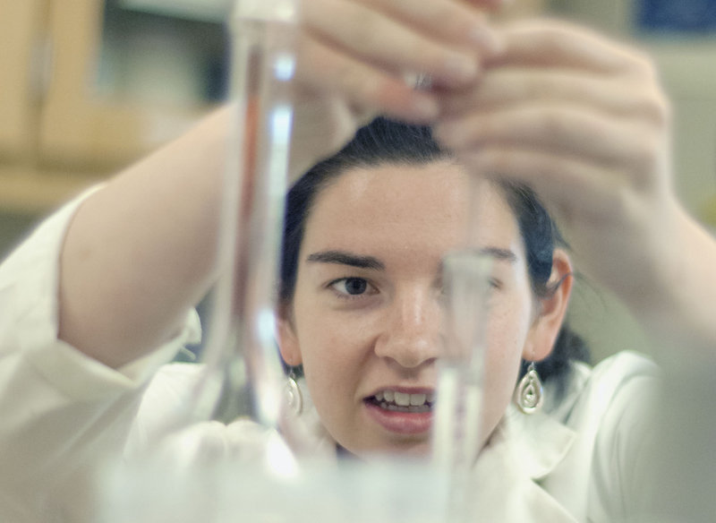 UMaine undergraduate student Katie Crosby uses chemical techniques to extract collagen from abalone tissue. At a time when enrollment at UMaine is down overall, a record number of students are enrolling in the university's Department of Food Science and Human Nutrition.