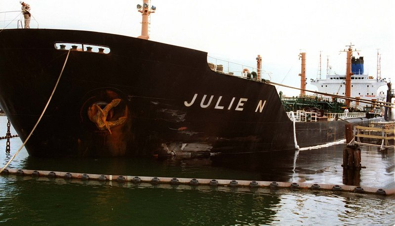 The damaged Julie N after its accident, which dumped about 180,000 gallons of oil into Portland Harbor.