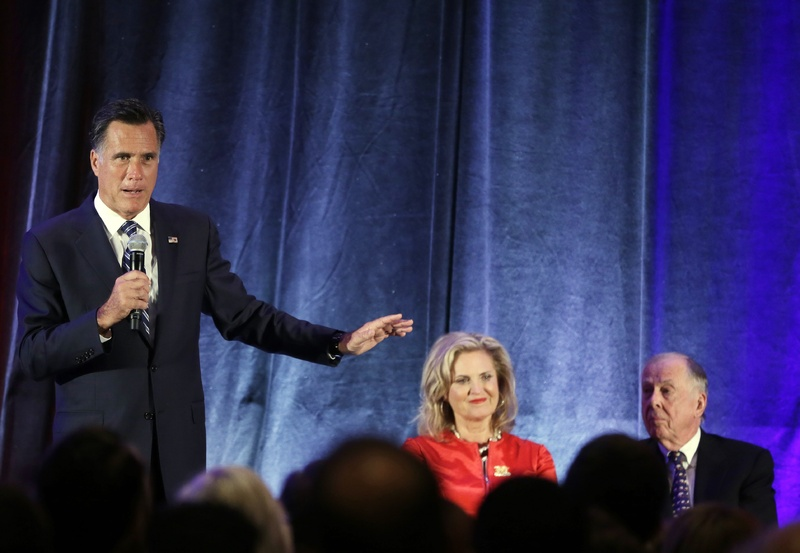 Republican presidential candidate Mitt Romney, Ann Romney, and Texas billionaire businessman T. Boone Pickens share the stage at a campaign fundraising event in Dallas on Tuesday. His comments to wealthy donors that surfaced recently in a video makes clear that he believes half the country is lazy, greedy and feels entitled to government help.
