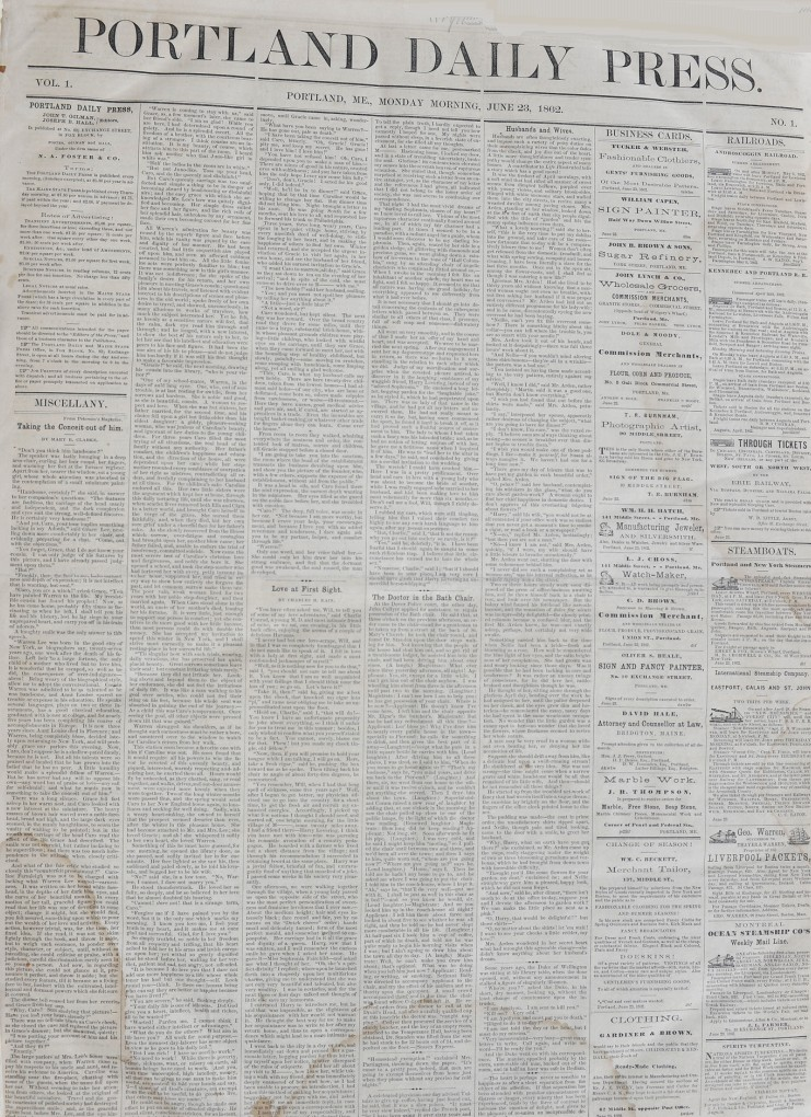 This is a photo of the first edition of the Portland Daily Press, published on June 23, 1862