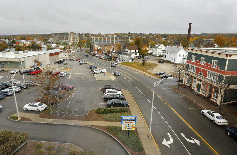 Sanford, built along the Mousam River at the heart of York County, is the state's largest town, with about 22,000 people. Photo shows a view of Washington Street in Sanford as seen from the Trust Company Building downtown.