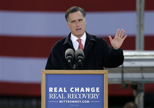 Republican presidential candidate, former Massachusetts Gov. Mitt Romney speaks about the economy during a campaign stop at Kinzler Construction Services, Friday, Oct. 26, 2012, in Ames, Iowa. (AP Photo/Charlie Neibergall)