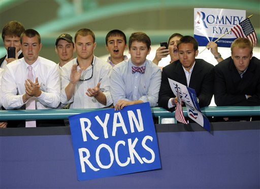 FILE - In this Monday, Sept. 3, 2012 file photo, supporters cheer for Republican vice presidential candidate, Rep. Paul Ryan, R-Wis., while he speaks at East Carolina University in Greenville, N.C. In 2008, Republican pollster Kristen Soltis says she watched disappointedly as her party