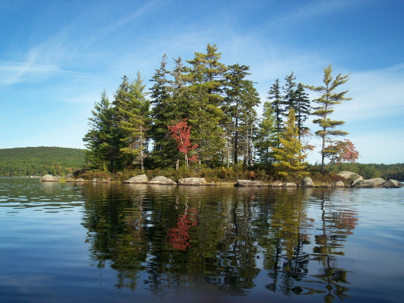 Donnell Pond includes several small islands offering some of the scenic splendors that make the pond a special place to paddle.