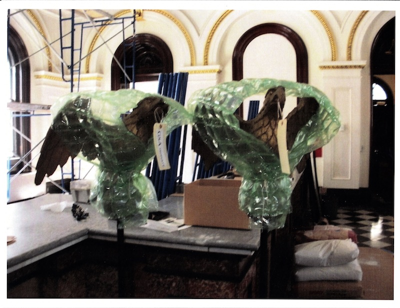 Wrapped and tagged after being restored, the two eagles were stolen from the grand lobby of the Custom House. They each are about three feet tall and together are valued at about $50,000.