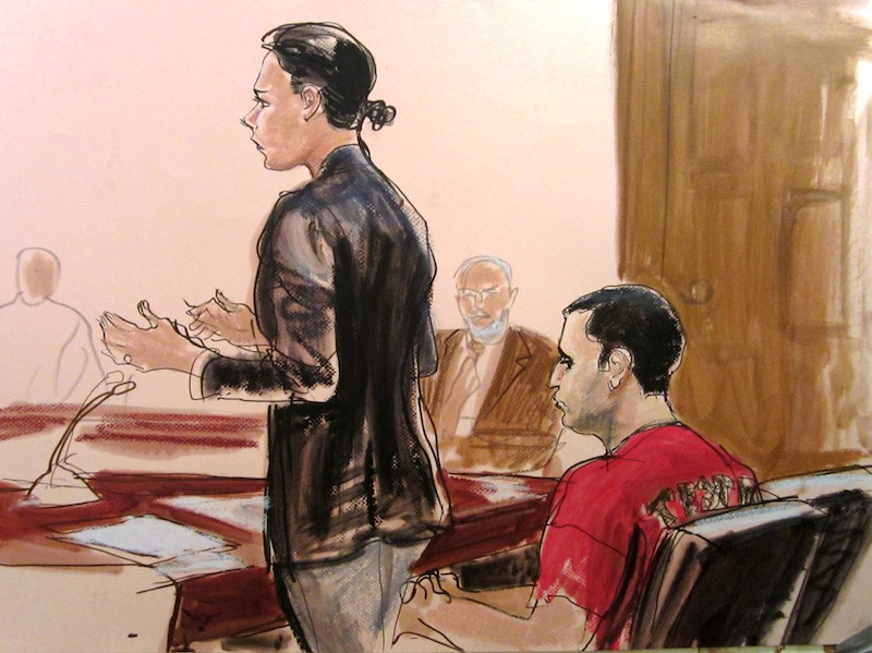 In this courtroom drawing Federal Defender Julie Gatto requests bail for her client, New York City Police Officer Gilberto Valle, right, at Manhattan Federal Court, Thursday, Oct. 25, 2012 in New York. Valle was charged with leading a ghoulish double life by using a law enforcement database and fetish chat rooms to dream up a plot to torture women and then cook and eat their body parts. (AP Photo/Elizabeth Williams)