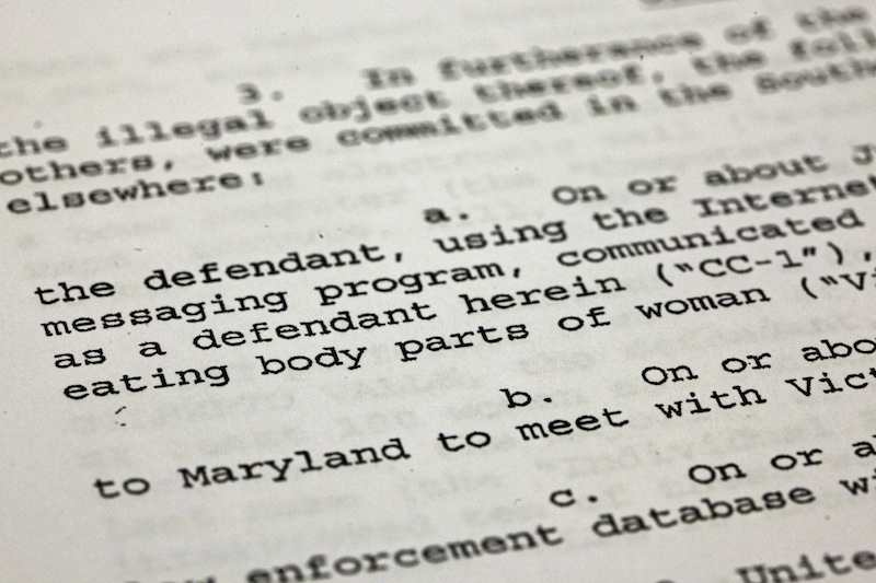 This photo shows a passage of a Federal complaint filed in New York, Thursday, Oct. 25, 2012, against New York City Police Department officer Gilberto Valle. Valle, 28, is charged in a ghoulish plot to kidnap, rape, torture and kill women, and then cook and eat their body parts. AP Photo/Richard Drew)