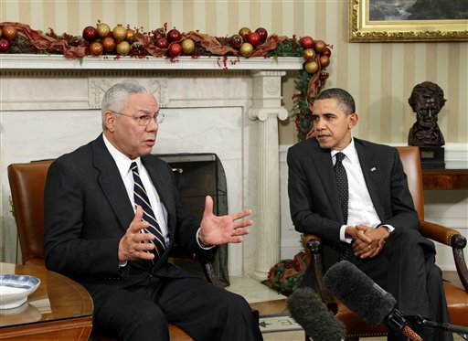 Former Secretary of State Colin Powell meets with President Barack Obama in the Oval Office in this 2010 photo.