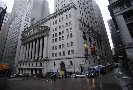 The streets surrounding the New York Stock Exchange are deserted as financial markets remain closed for the second day on Tuesday due to superstorm Sandy.