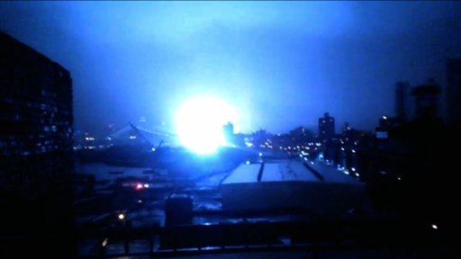 This image from video provided by Dani Hart shows a transformer exploding in lower Manhattan as seen from a building rooftop from the Navy Yard in Brooklyn during Sandy's arrival in New York City.