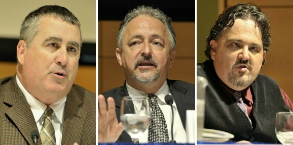U.S. Senate candidates Steve Woods, left, Danny Dalton, center, and Andrew Ian Dodge.