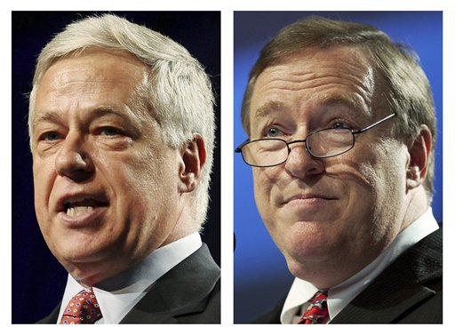 FILE - This pair of file photos show Democratic U.S. Rep. Mike Michaud, left, and Republican challenger, Maine Senate president Kevin Raye, right, who will face off in the 2nd Congressional District race in the November 2012 general election. (AP Photos/File)