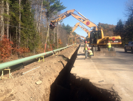 Maine Natural Gas started construction earlier this week installing a natural gas pipeline along Route 17 in Windsor, seen above. The firm worked with the Maine Department of Transportation and its contractors to install 12-inch coated steel pipe under 11 culvert crossings that are being rebuilt this year as part of a paving project.
