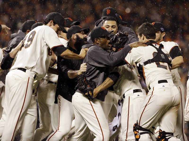 It was pouring when the game ended, but that didn't dampen the celebration for the Giants after they beat St. Louis 9-0 in Game 7 of the NL championship series to advance to the World Series against the Detroit Tigers.