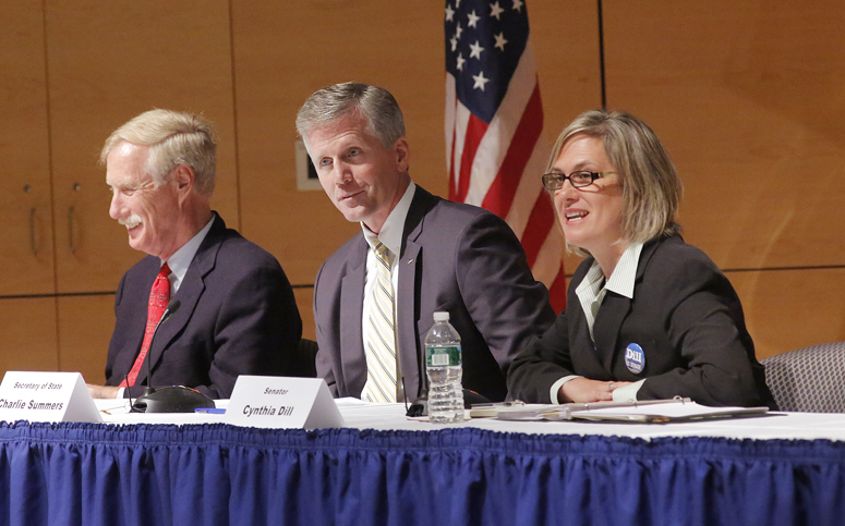 U.S. Senate cadidates Angus King, Charlie Summers and Cynthia Dill, left to right, participate in a debate at the at the University of Southern Maine in Portland on Thursday, September 13, 2012.