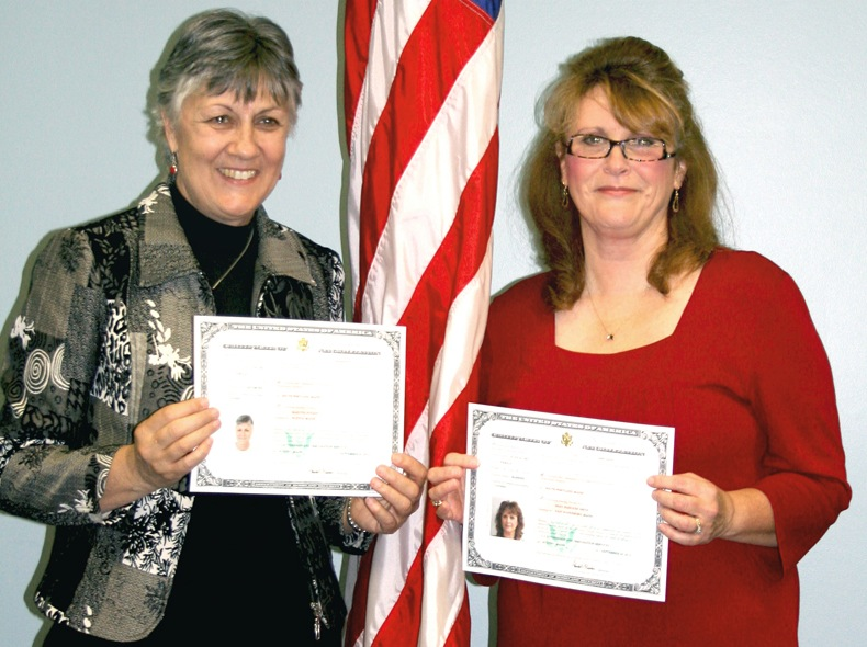 Longtime Maine School Administrative District 6 employees Martine Nugent and Hedy Smith recently became American citizens during a swearing-in ceremony performed at the MSAD 6 superintendent's office.