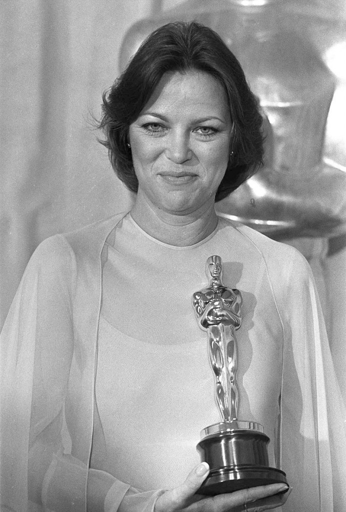 "Louise Fletcher in 1976 with the Best Actress Oscar she won for her performance as Nurse Ratched in ""One Flew Over The Cuckoo's Nest."""
