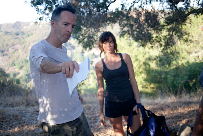 "Kyle Rankin directs actress Jamie Tisdale in the short ""Raw Footage."""