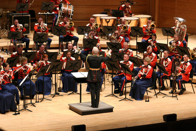 The U.S. Marine Band performs marches and patriotic songs on Monday at Bowdoin College in Brunswick.