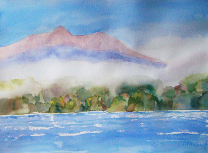 Finished painting of Katahdin by Sandra Pye.