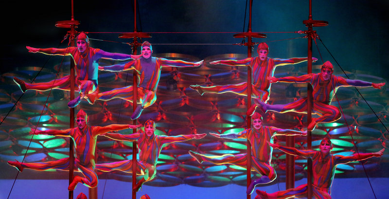 Members of the Cirque du Soleil troupe display their athleticism on the Chinese Poles.