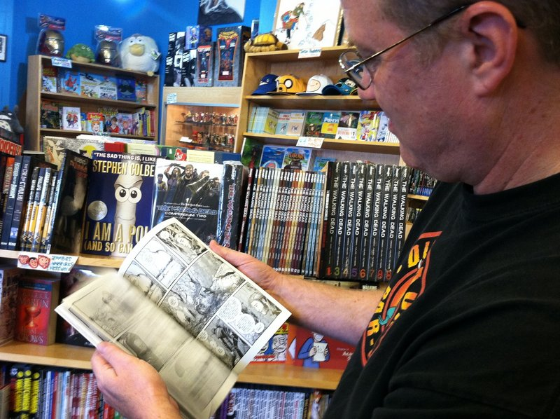 "Rich Lowell, co-owner of Casablanca Comics in Portland, says zombie comic books are ""hugely popular."""