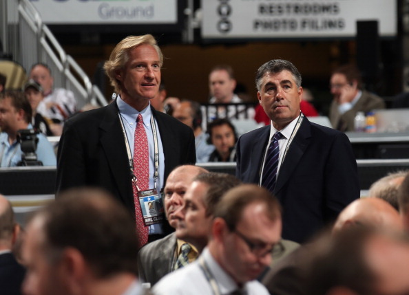 Don Maloney and Dave Tippett of the Phoenix Coyotes discuss matters during Round One of the 2012 NHL Entry Draft at Consol Energy Center on June 22 in Pittsburgh, Pa.